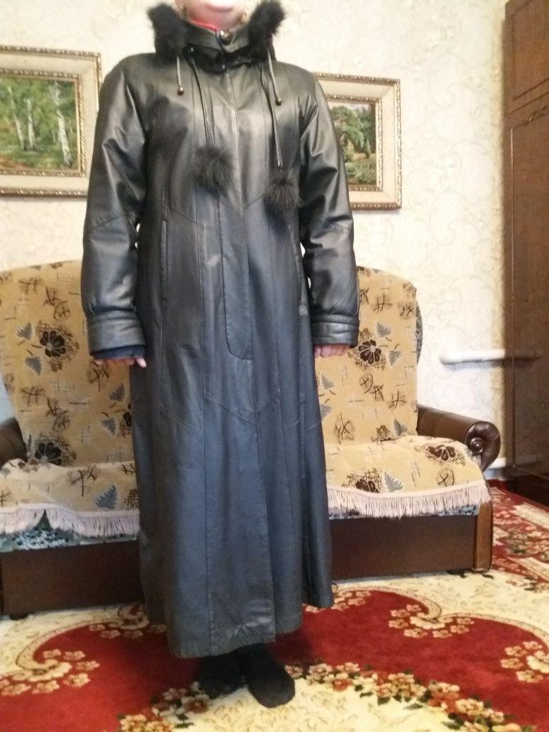 Пальто с натуральной кожи