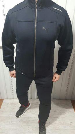 Мужской зимний теплый спортивный костюм на флисе Puma