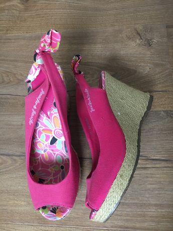 Buty letnie 38 espadryle różowe kwiaty koturna słoma