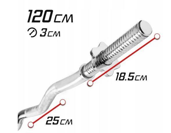 Sztanga - Gryf łamany 120cm , 30mm - Nowy