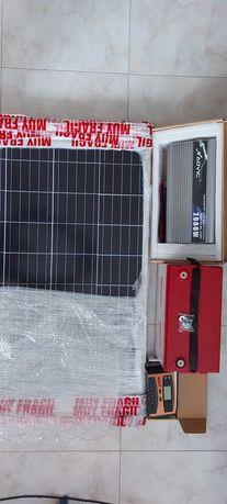 Kit painel solar completo com bat gel 90 amp.