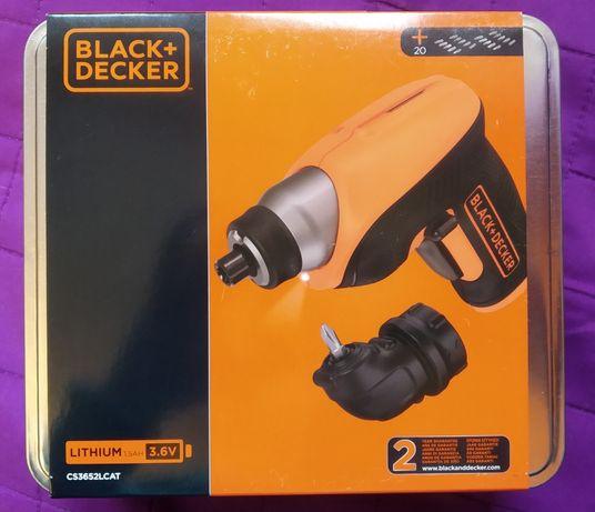 Nowa Wkrętarka akumulatorowa Wkrętak Black&Decker w metalowej puszce