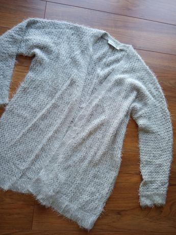 Szary kardigan długi sweter puszysty c&a