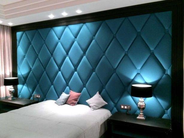 Стеновые панели, кровати с мягким изголовьем, каретная стяжка.