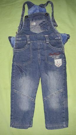 Spodnie jeansy ogrodniczki ocieplane r.92