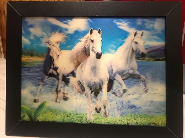 Obraz trójwymiarowy konie w galopie.