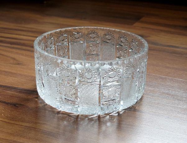 Kryształowa misa miska zdobiona prl duża