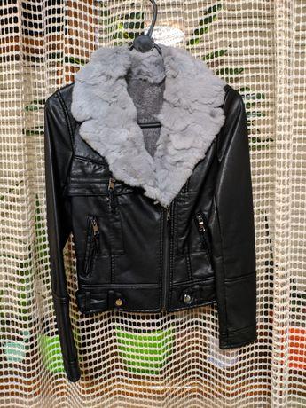 Куртка Косуха кожанка с мехом кролика. Еврозима