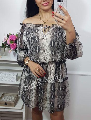 Sukienka wężowa hiszpanka szyfonowa,gumka 36,38,40 zwiewna śliczna