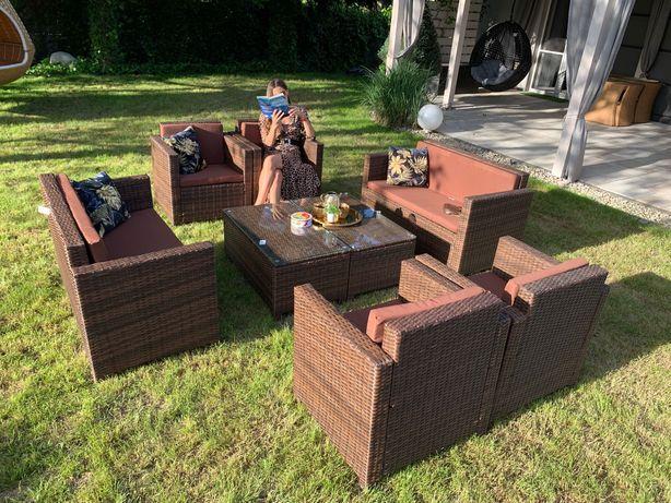 Nicea XXL zestaw technorattan brąz 4x sofa fotel ława