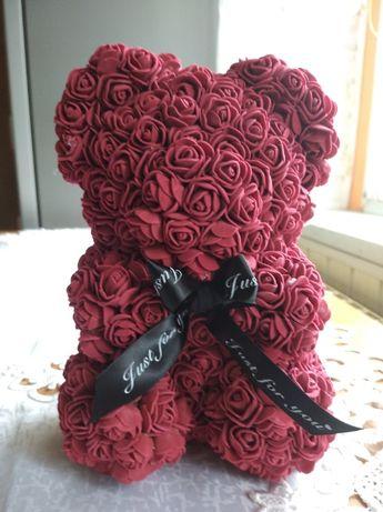 Bordowy MIŚ Z RÓŻ rose bear na prezent walentynki 25 cm