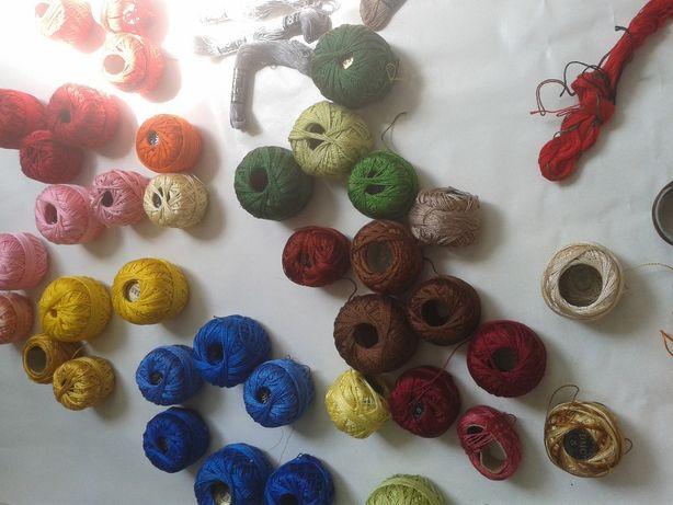 Ogromna kolekcja do rękodzieła, mulina, kordonki,stare guziki, koronki