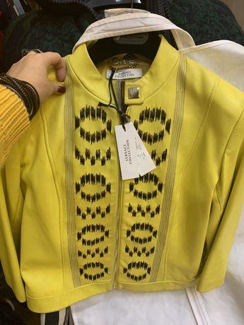 Куртка кожа Versace collection Chanel Balmain
