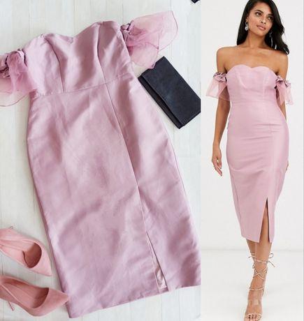 Sukienka różowa pudrowa rozcięcie 40 L odkryte ramiona wesele