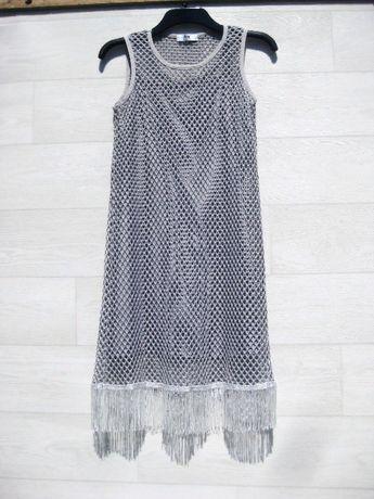 Платье Angela миди серое сетка с бахромой M S