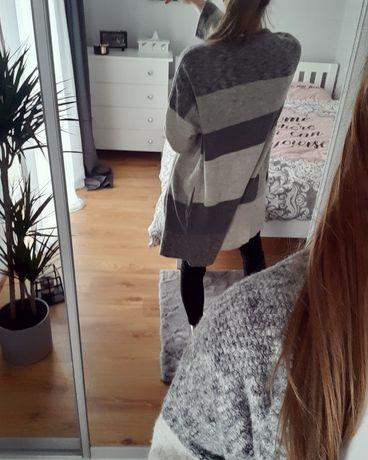 Ciepły kardigan L długi sweter szary z kieszeniami