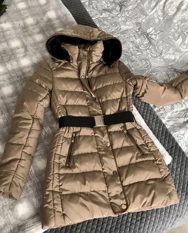 Kurtka płaszczykowa zimowa złoty brąz XS -S