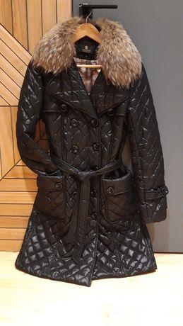 Шикарное демисезонное пальто р М съёмный воротник из натурального меха