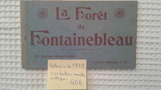 Coleção de 12 Postais de 1929 de Foutainebleau