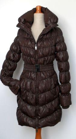 Długa kurtka puchowa puch naturalny brąz zima