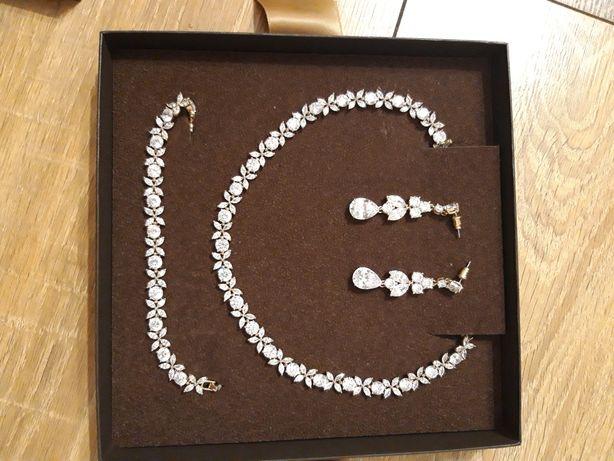 KRUK Piękny komplet biżuterii kolia, bransoletka i kolczyki.