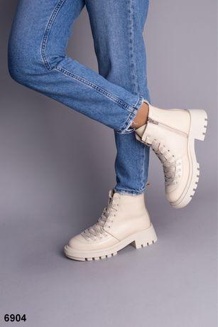 Женские зимние кожаные ботинки утепленные Теплая обувь