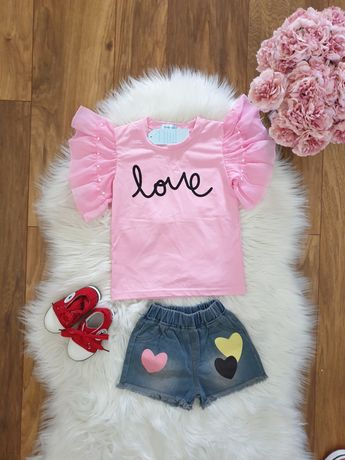 T-shirt spodnie spodenki lato perly serca