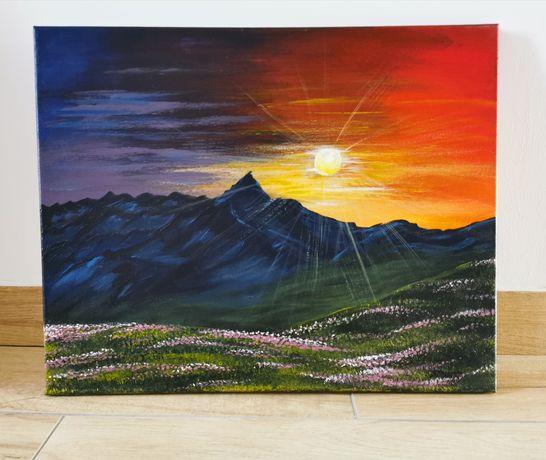 Obraz ręcznie malowany 40x50cm płótno, Zachód słońca Góry