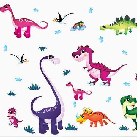 Наклейки в детскую Красочные динозавры