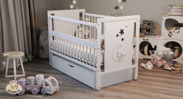 Детская кровать «Ведмедик» маятник+ящик+колеса. ЦВЕТ: БЕЛАЯ, СЛОНОВАЯ