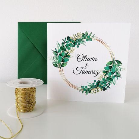 Zaproszenia na ślub ZŁOTY RING i zieleń