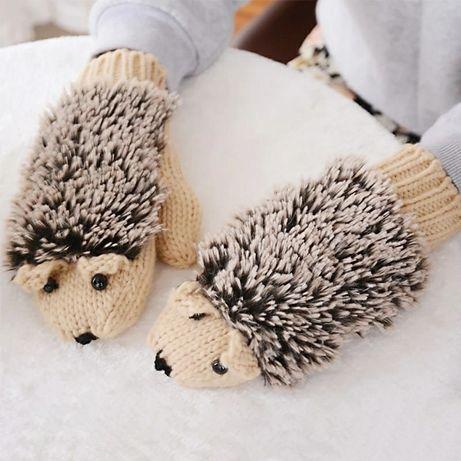 Варежки ёжики, перчатки, рукавицы, варежки, подарок,