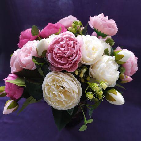 Искусственные шелковые цветы пионы, букет из 15 цветов + бутоны