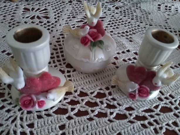 Zakochane Gołąbki- serca i róże. Na ślub i Walentynki