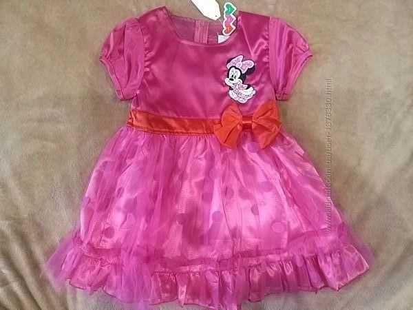 Праздничное атласное нарядное розовое платье Минни Маус 104см 3-4 года