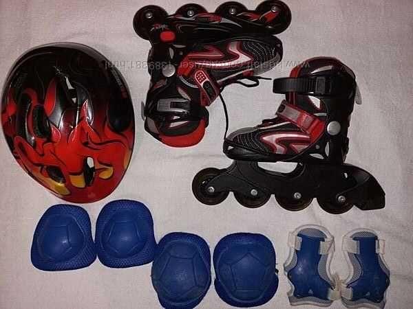 Ролики раздвижные REaction, 29-33 р-р. Шлем и защита.
