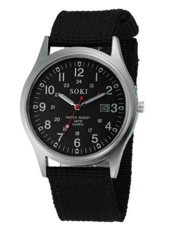 Кварцевые мужские матовые наручные часы с ремешком Zegarek (черные)