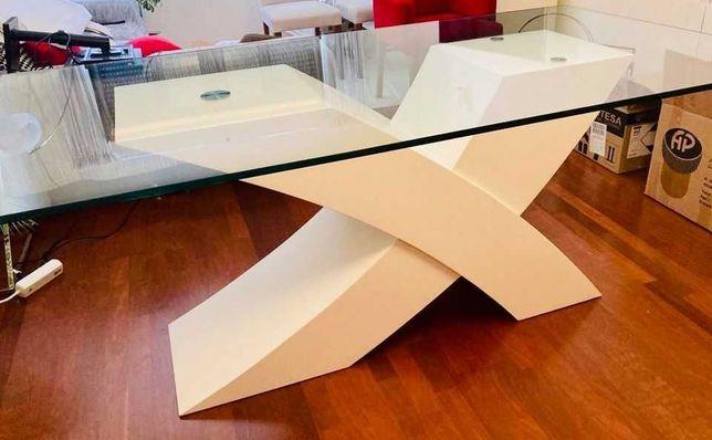 Mesa refeição vidro temperado com pé lacado branco 1,9x1m