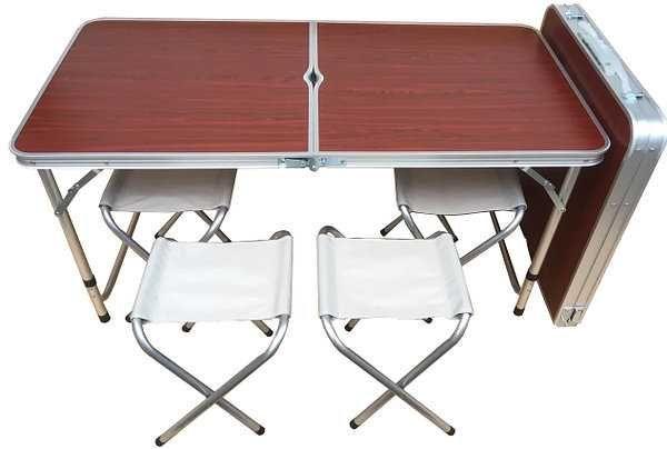 Туристический Стол складной для пикника + 4 стула Чемоданчик