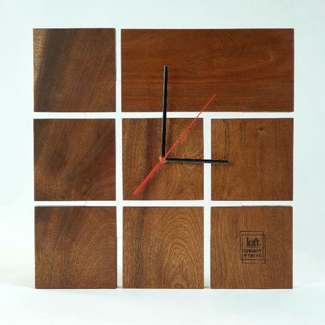 Mahoniowy zegar ścienny Loft - Industrial