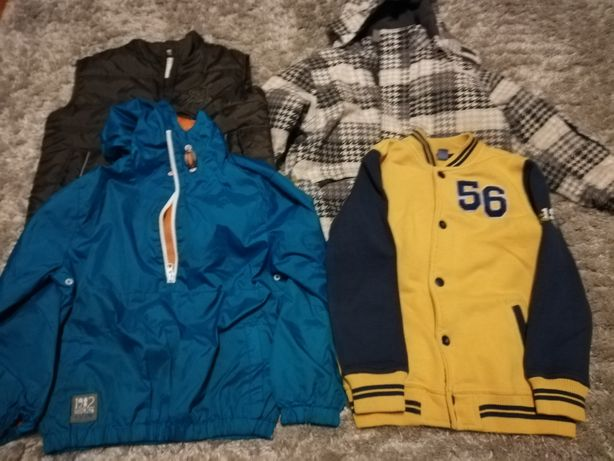 Zestaw 116 kurtka narciarska bezrękawnik wiatrówka basebolowka bluza