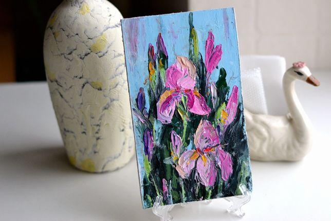 Картина маслом цветы Ирисы,живопись,картина-открытка подарок к 8 марта