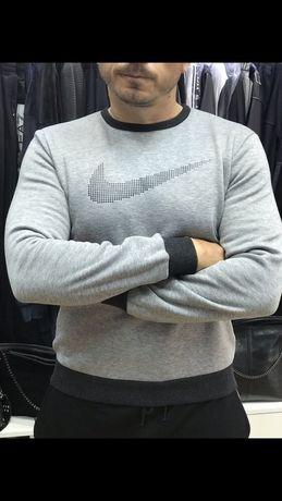 Спортивная кофта мужская серого цвета внутри флис тёплая на манжетах