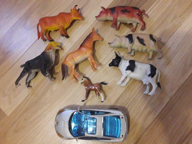 Zestaw zabawek dla dzieci zwierząt zwierzątka koń krowa pies autko