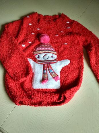 Nowy sweter z bałwankiem. Rozm z metki 128.