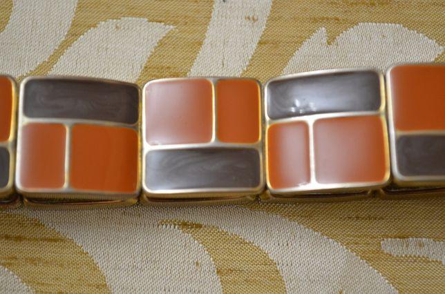 Bransoletka biżuteryjny metal i porcelanka pomarańcz brąz Dzień Kobiet