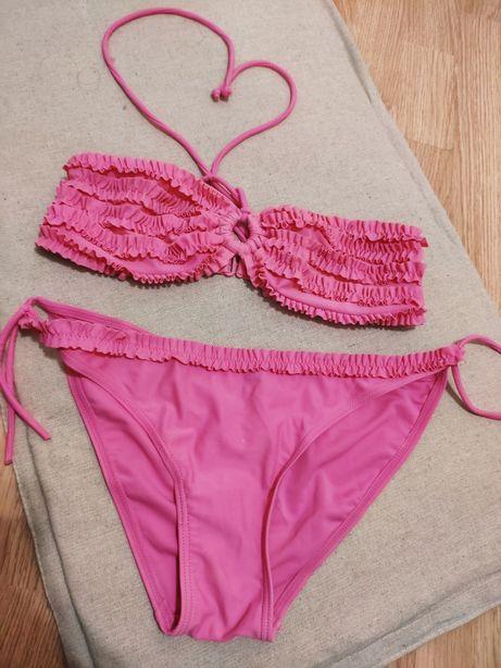 owy dwuczęściowy bikini kąpielowy falbanki bardotka