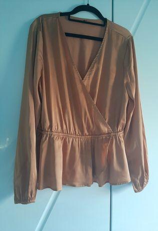 Satynowa elegancka bluzeczka falbana L/XL