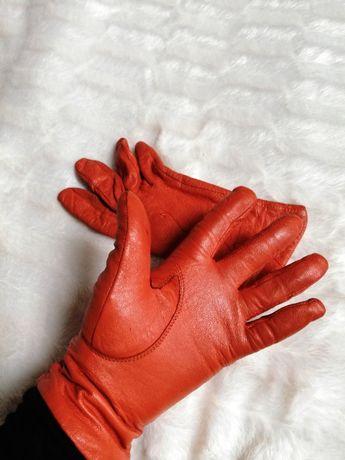rękawiczki eko skóra pomarańczowe