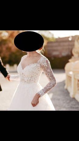 Suknia ślubna ecru, literka A, odkryte ramiona r.36 Agnes